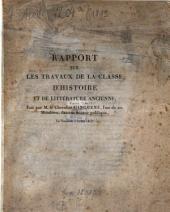 Rapport sur les travaux de la classe d'histoire et de littérature ancienne