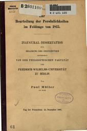 Zur Beurteilung der Persönlichkeiten im Feldzuge von 1815