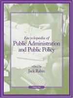 Encyclopedia of Public Administration and Public Policy: A-J