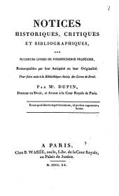 Notices historiques, critiques et bibliographiques: sur plusieurs livres de jurisprudence française
