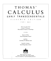 Thomas  Calculus Early Transcendentals  Single Variable  Chs  1 11  PDF