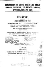Departments of Labor  Health and Human Services  Education  and Related Agencies Appropriations for 1991 PDF