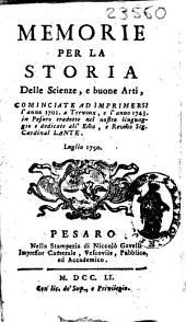 Memorie per la Storia delle Scienze e Buone Arti
