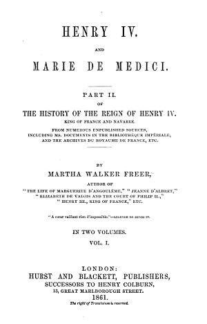 History of the Reign of Henry IV  King of France and Navarre
