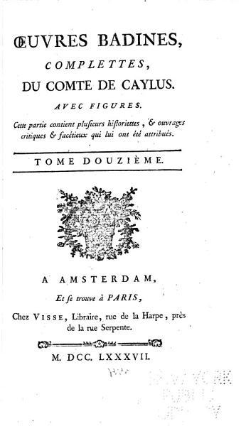 Download   uvres Badines Complettes  Du Comte de Caylus Book
