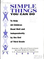 Simple Things You Can Do to Help All Children Read Well and Independently by the End of Third Grade PDF
