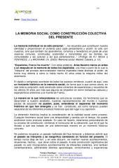 LA MEMORIA SOCIAL COMO CONSTRUCCIÓN COLECTIVA DEL PRESENTE