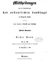 Mittheilungen über die Verhandlungen des Landtags Zweite Kammer: Band 1