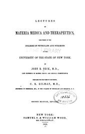Lectures on materia medica and therapeutics