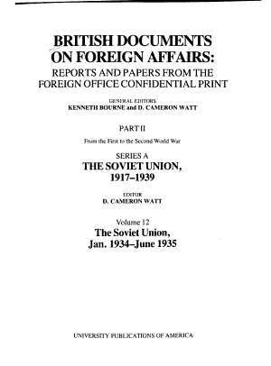 British Documents on Foreign Affairs  reports and Papers from the Foreign Office Confidential Print  Jan  1934 June 1935 PDF