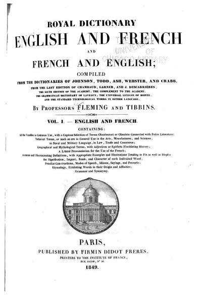Download Royal Dictionary  English and French and French and English Book