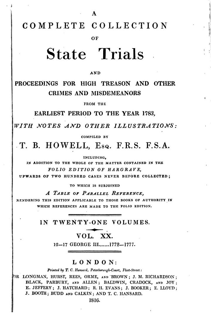 A Complete Collection of State Trials Vol. XX