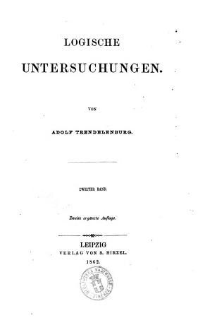Logische Untersuchungen von Adolf Trendelenburg PDF