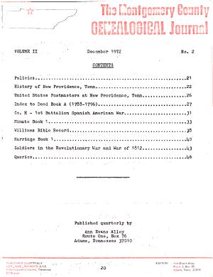 Montgomery County Genealogical Journal
