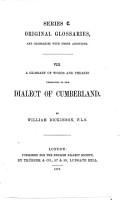 A Glossary of Words and Phrases Pertaining to the Dialect of Cumberland by William Dickinson  F  L  S  PDF