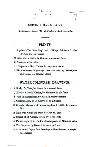 Second Day's Sale, Wednesday, August 21, etc. [An auction catalogue of prints, water colour drawings and paintings.]