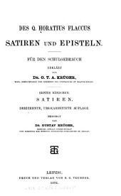 Des Q. Horatius Flaccus Satiren und episteln: Bände 1-2