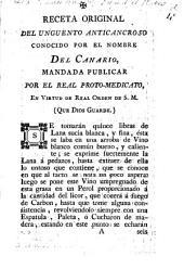 Receta original del unguento anticancroso conocido por el nombre del Canario