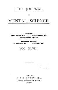 The Journal of Mental Science PDF