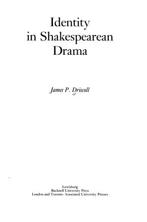 Identity in Shakespearean Drama PDF