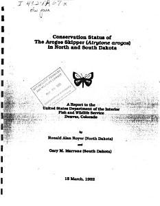 Conservation Status of the Arogos Skipper  Atrytone Arogos  in North and South Dakota PDF