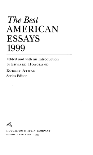 The Best American Essays 1999