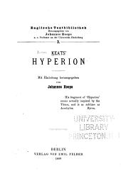 Keat's Hyperion; mit einleitung herausgegeben von Johannes Hoops ...