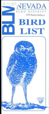 Bird List: Nevada, Elko District