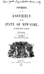 Documents of the Assembly of the State of New York: Volume 1, Issues 1-15