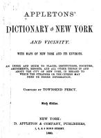 Appleton s Dictionary of New York and Its Vicinity PDF