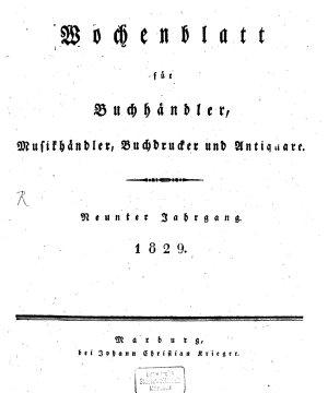 Wochenblatt f  r Buchh  ndler  Musikh  ndler  Buchdrucker und Antiquare PDF