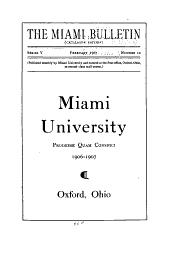 Catalogue of Miami University at Oxford, Ohio
