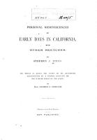 Personal Reminiscences of Early Days in California PDF
