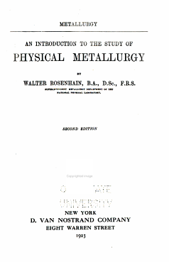 An Introduction to the Study of Physical Metallurgy PDF