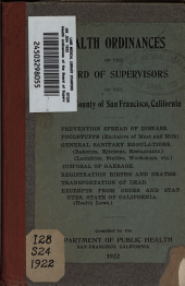 Health ordinances of the Board of Supervisors of the city and county of San Francisco, California