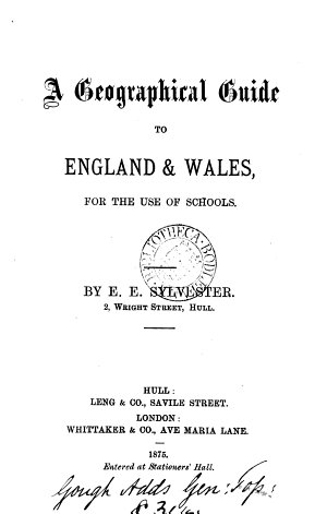 A geographical guide to England   Wales  for the use of schools