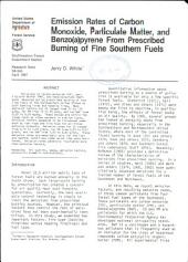 Emission rates of carbon monoxide, particulate matter, and benzo(a)pyrene from prescribed burning of fine southern fuels