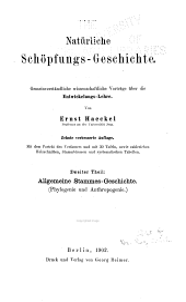 Natürliche Schöpfungs-Geschichte: Gemeinverständliche wissenschaftliche Vorträge über die Entwickelungslehre, Band 2
