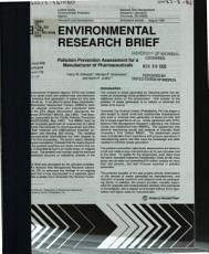 Pollution Prevention Assessment for a Manufacturer of Pharmaceuticals PDF