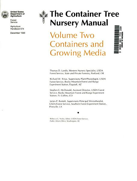 Download The Container Tree Nursery Manual  Containers and growing media Book