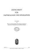 Zeitschrift für Papyrologie und Epigraphik