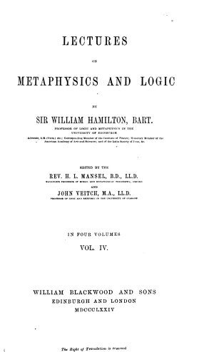 Lectures on Metaphysics and Logic