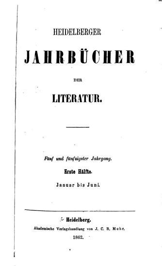 Heidelbergische Jahrb  cher der Litteratur PDF