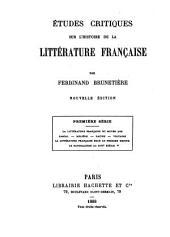 Études critiques sur l'histoire de la littérature française: première - huitième séries, Volume1