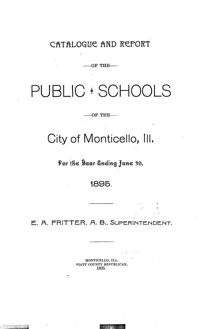 Report and Catalogue, Monticello Community High School