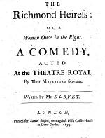 The Richmond Heiress, Or, A Woman Once in the Right