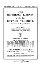 Download The Reference Library of the Late Edward Turnbull  Founder of the Walpole Galleries Book