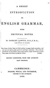 A short introduction to English grammar: with critical notes ...