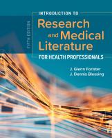 Introduction to Research and Medical Literature for Health Professionals PDF