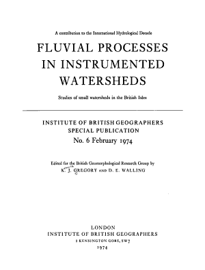 Fluvial Processes in Instrumented Watersheds PDF